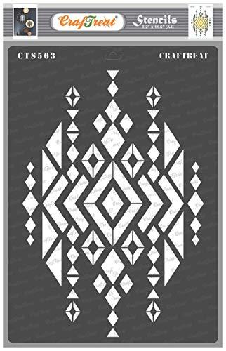 CrafTreat Schablone – Azteken-Design2 – wiederverwendbare Malvorlage für DIY Handwerk, Heimdekoration, Scrapbooking, Album, Wandbehang, Taschen, Stoffe, Leinwand, Teller, Rahmen, Karten – A4