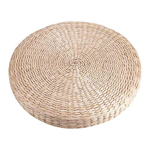 Nicoone Tatami Cuscino da Terra,40cm Pouf Rotondo, Cuscino Naturale Tappetino a Maglia per Yoga, Cerimonia del tè