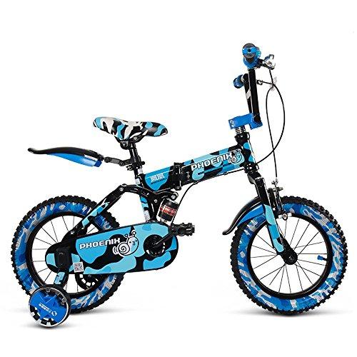 LVZAIXI Enfant Plier la Bicyclette 3-6-8 Ans bébé Poussette 12 Pouces 14 Pouces 16 Pouces vélo (Couleur : Bleu, Taille : 16Inch)