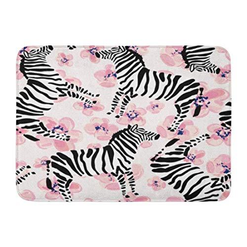 Rongpona Fußmatten Bad Teppiche Outdoor/Indoor Fußmatte Muster Zebra rosa Blumen gestreift Safari Tier gezeichnete Hand afrikanischen Badezimmer Dekor Teppich Badematte