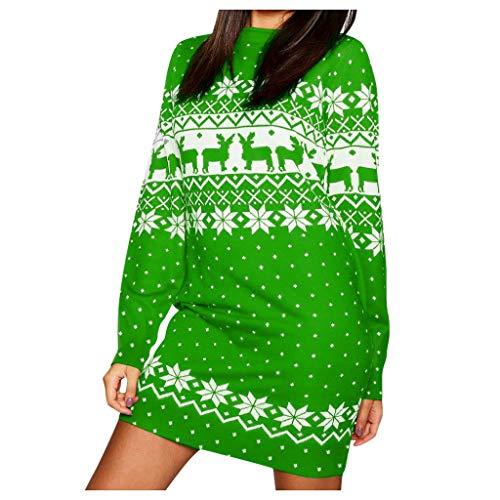 AmyGline Weihnachtskleid Damen Minikleid Christmas Elch Schneeflocke Drucken Sweatshirt Pullover Kleid Weihnachten Kleid Frauen Sweatshirts Festlich Partykleid A-Linie Kleid