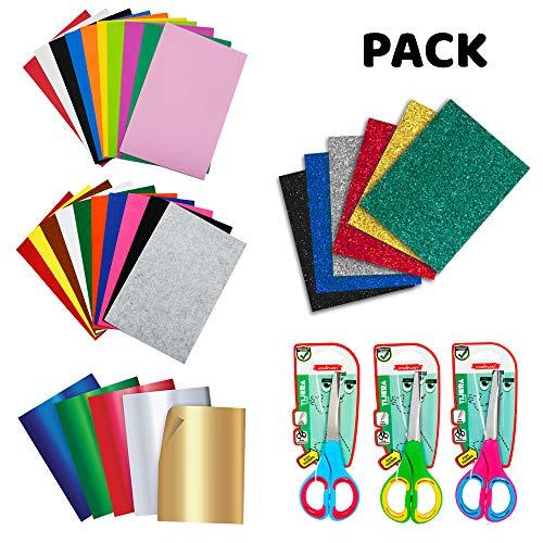 Startplast, Pack 3 Tijeras de Oficina Bicolor Multiusos de 17 cm, Fieltro de Colores 10 Piezas, Goma Eva Colores Lisos 10 Hojas, Goma Eva Purpurina con Adhesivo 6 Hojas, Cartulina Metalizada