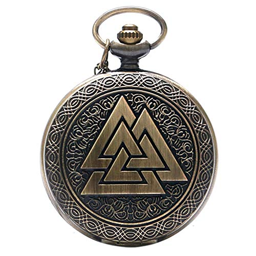 Vintage Geschenk Triangle Valknut-nordischen Bronze Quarz Taschenuhr für Herren