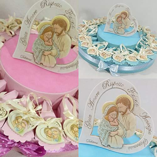 Sindy Bomboniere 8054382130 Bomboniere Battesimo Bimbo Sacra Famiglia Pendente + Centrale + Confetti, Resina, Azzurro, 30 x 30 x 5 cm