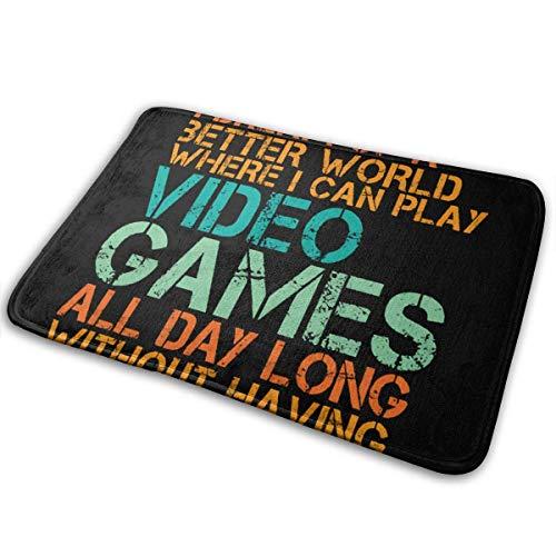 NA Cita Divertida para Videojuegos Geek y Gamer, Alfombrillas Antideslizantes para Puertas, alfombras para Puertas de Entrada, alfombras para Zapatos, Alfombrilla Lavable a máquina
