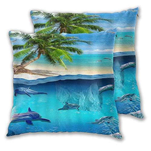 DECISAIYA Fundas de Cojines,Mar Delfín Pez Mundo Submarino 3D Playa Tropical Palmera,Poliéste Funda de Almohada Cuadrado para Sofá Cama Decoración para Hogar,Set de 2,45x45cm