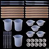SFFSMD 1 Set DIY Herramientas de Resina Epoxi Medida Vasos de Silicona Mezcla Palo Palo de Madera Cuentagotas Ajustador de la Joyería de la Mano