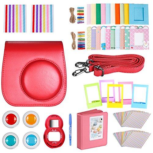 Neewer 10 en 1 Kit de Accesorios de Cámara para Fujifilm Instax Mini 8/8s Incluir Álbum/Selfie Lente/Filtros de Color/Wall Cuelgue Marcos/Marcos de Película Frontera/Pegatinas(Rojo)