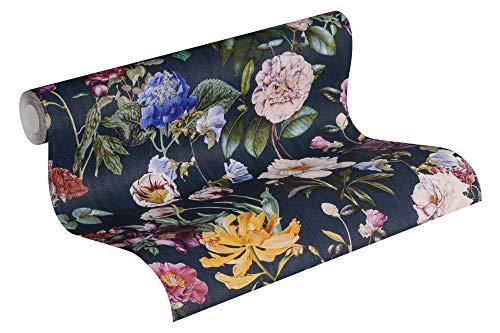 Jette Vliestapete Tapete tropisch floral natürlich 10,05 m x 0,53 m blau grün rot Made in Germany 373364 37336-4