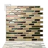 Tic Tac Tiles 3D Azulejos Adhesivo - 5 Láminas, 25 cm x 25 cm Azulejos de la pared para Cocina y Baño - Como Mare
