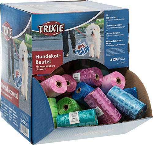 Trixie 22843 70 Dog Pick Up Display Hundekotbeutel, M, 20 Beutel/Rolle, sortiert
