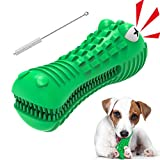 Dog Chew Toys for Aggressive Chewers Large Breed, pordsioc Interactive Tough Natural Rubber Alligator Head Dog Chew Toy Squeaky Teeth Cleaning Toothbrush with Milk Flavor for Medium Large Dogs (Green)