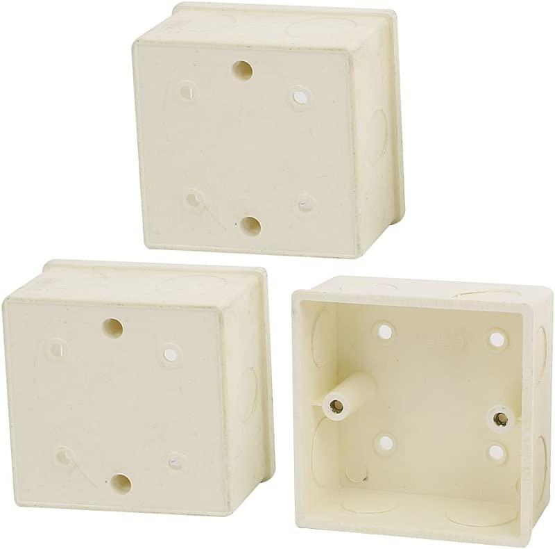 Uxcell 86mm X 86mm X 40mm Square Design PVC Switch Pattress Back Box 3pcs