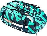 HEAD Unisex-Erwachsene Bag Gravity R-PET 12R Duffle-Tennisschlägertasche – Tasche für zwölf Schläger, Blaugrün/Marineblau