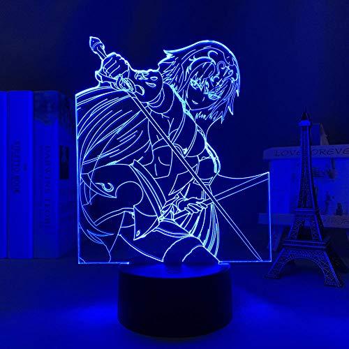 3D Anime Luz de Noche Luz Destino Gran Orden Jeanne Alter para Decoración de Dormitorio Regalo de Cumpleaños Manga Fate Gran Orden Jeanne Alter Led Lámpara de Noche-7 Colores, Control Táctil