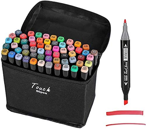 Beauenty 168 Colors Dual Tips Art Alcohol Marker Pens Permanent Sketch Markers Set for Kids and Adult Coloring Painting Manga Design (black) (168 colors)