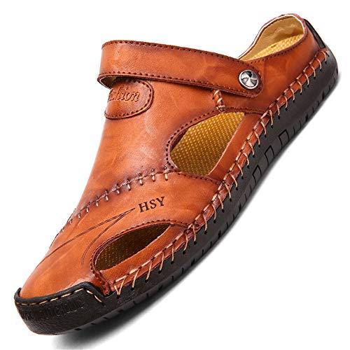 LIEBE721 Homme Sandales de Marche d'été Sabots et Mules Tongs Chaussures de Plage en Cuir de Vachette