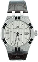 Maurice Lacroix Men's Aikon Automatic 42 mm Watch   Silver/Brown Leather