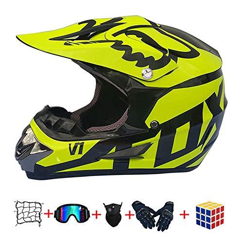 Casco Motocross niño, ECE Certificación Casco de Moto para niños Downhill.Cascos de Cross de Moto Set con Gafas/Máscara/Red Elástica/Guantes (960, M : 54-55 cm)