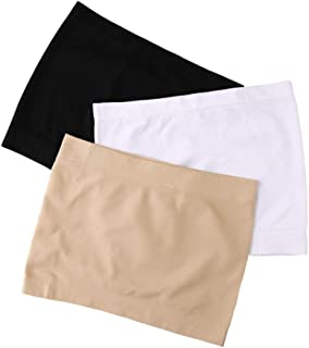 Women's Strapless Seamless Stretch Long Bandeau Tube Top 3 Pack Active Base Layer