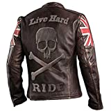 paramount-fashion UK Bandiera Biker Vintage Stile Moto in Vera Pelle Moto Giacca Marrone Scuro con Teschio Logo in Rilievo sul Retro - XXL