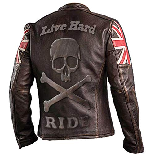 paramount-fashion UK Flagge Vintage Biker Style Motorrad aus echtem Leder Motorrad Jacke Dunkelbraun mit Totenkopf Logo auf Rückseite-XL geprägt