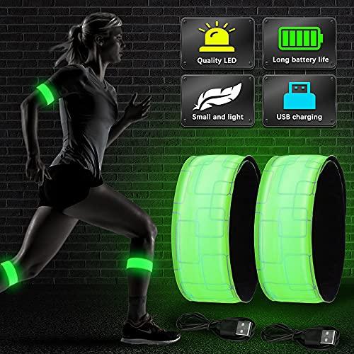 Vivibel LED Armband Aufladbar, 2 Stück Leuchtband mit USB, Reflektoren Joggen Leuchtarmband, Kinder Nacht Sicherheits Licht für Laufen Joggen Radfahren Hundewandern Running Outdoor Sports(Grün)