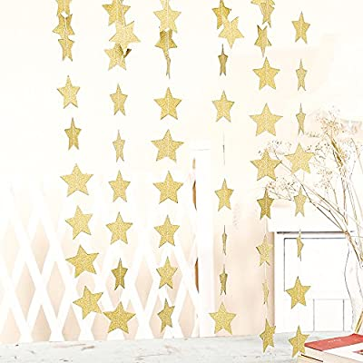 ZOOYOO Glitter Paper garland Five-pointed Star ornaments ,For a variety of activities and party supplies.10ft-2pcs