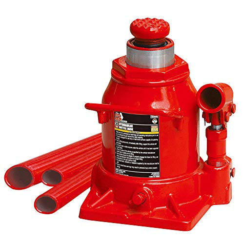 BIG RED T92007A Torin Hydraulic Stubby Low Profile Welded Bottle Jack, 20 Ton (40,000 lb) Capacity, Red