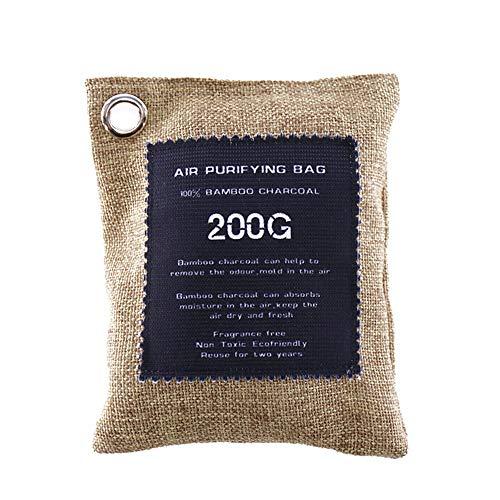 POWER BANKS Bamboo Charcoal Eliminator Bag Pack Absorbente Bolsas purificación Aire para el hogar Elimina los olores el eliminador Humedad para el automóvil doméstico Las Mascotas, (Paquete 200G × 2)