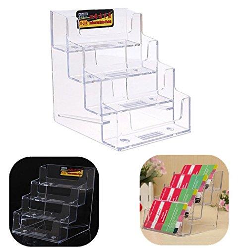 Tarjetero de acrílico para tarjetas de visita, 4 bolsillos 9 x 8,5 x 10 cm, transparente, para escritorio, tarjetas de visita, soporte organizador para pared o escritorio 9 x 8.5 x 10cm