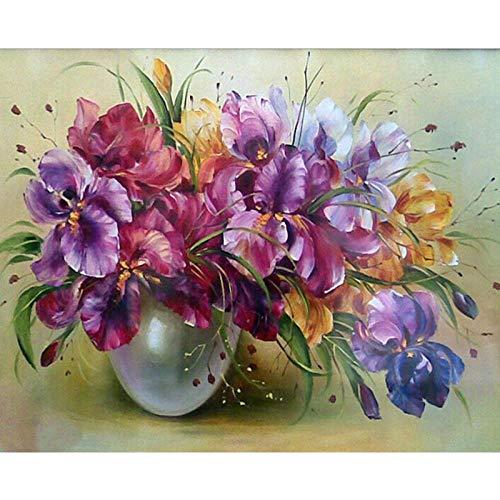 DMLGQ DIY DIY digitaal schilderij, olieverfschilderij, thuisdecoratie, handgemaakt, schilderijen op canvas, 40 x 50 cm, kleurrijke bloempotten Incorniciato