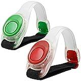 2pcs MAXIN LED Light Shining Bangle, Silicona reflectante, Pulsera LED Brilla en la oscuridad - Banda de bofetada de seguridad para ciclo de carrera, Alta visibilidad. ( Verde y rojo )