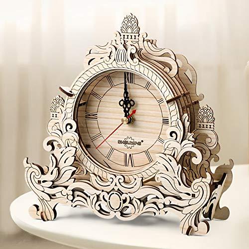 ZHUOYOU Wooden Alarm Clock, DIY Retro Table Clock, 3D Puzzle Building...