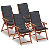 Tidyard Gartenstuhl Auflage für Hochlehner Kissen Sitzkissen Stuhlkissen Polster Stuhlauflage Sitzauflagen Sitzpolster Anthrazit, 120x50x3cm, 4 STK.