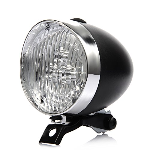 Fastar Retro LED para Bicicleta luz Delantera Faros Delanteros de Vintage para Bicicleta lámpara de luz Delantera para Bicicleta Faro Delantero, Negro