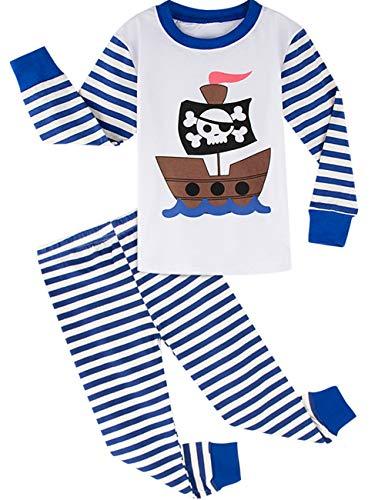 BECOS キッズ パジャマ 男の子 綿100% 長袖 (海賊船, 8歳)