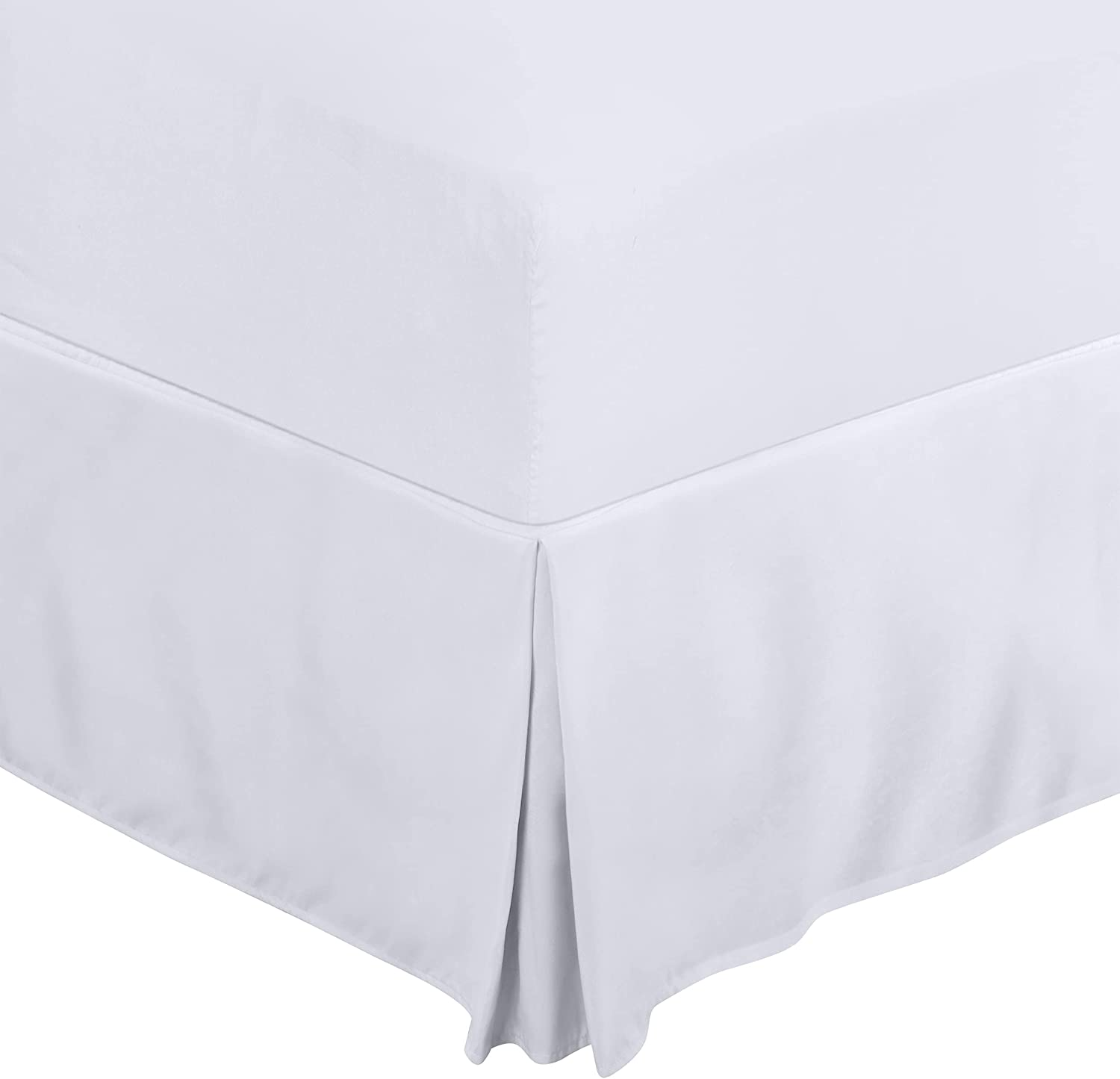 Utopia Bedding Twin Bed Skirt - Soft Quadruple Pleated Ruffle - Easy Fit with 15 Inch Tailored Drop - Hotel Quality, Shrinkage and Fade Resistant (Twin, White): Home & Kitchen