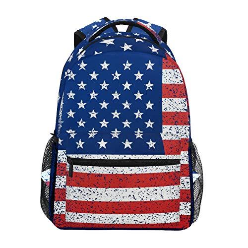 DXG1 Zaino Bandiera Americana Blu Rosso Donne Uomini Ragazza Ragazzo Borsa di Scuola Bookbag Casual Borsa Daypack Forniture