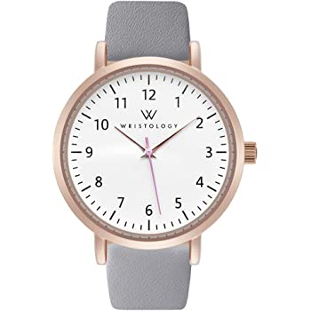 WRISTOLOGY Olivia Rose Gold Womens Watch - for Nurses Large Face Analog Easy to Read Numbers with Second Hand Grey Leather Band