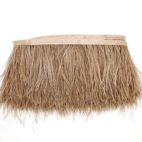 Yalulu 1 Mètre Naturel Plume d'oie Ruban de Toile à Coudre Craft DIY Vêtement Ornement Décoration d'intérieur Fete Mariage Anniversaire (Marron)