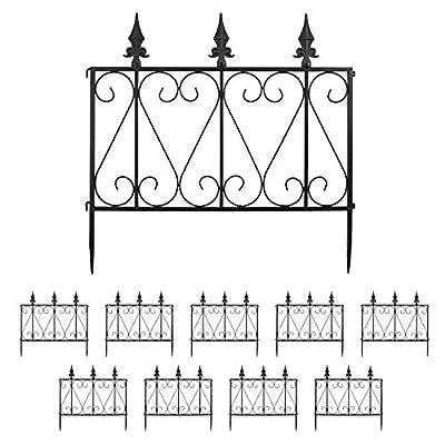 "Finderomend 10 Pack Garden Fence Rustproof Metal Wire Fencing Decorative Garden Fence Border for Landscape Patio Flower Bed, Pets, Barrier Gate Outdoor Black (24"" x 24)"