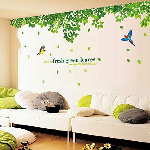 Runinstickers muurstickers, grote groene bladeren stickers muurstickers woonkamer groene romantische stickers zelfklevend, afneembaar behang vinylpapier stickers