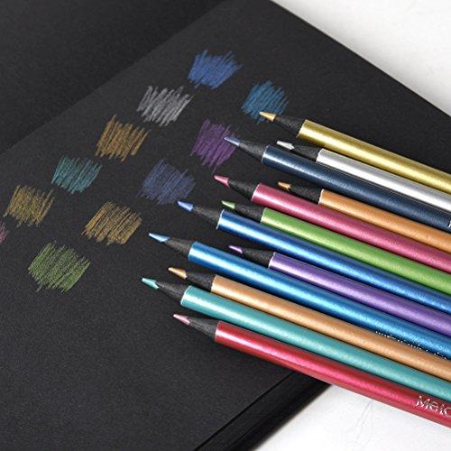 Metallic Colored Pencils Non-toxic Black Wood Drawing Pencils Pre-Sharpened 12 Assorted Colors Wooden Sketching Pencil Set Premium Art Pencils for Kids Children Adults Artists Coloring Book Art Craft