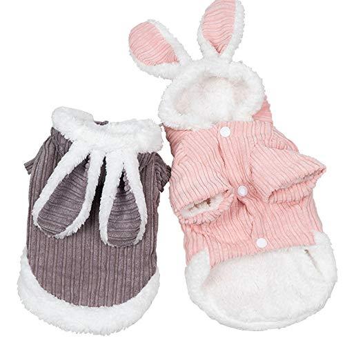IUOU Invierno Lindo Conejo Oreja Mascota Ropa para Perros pequeos Abrigo Perro con CapuchaRopa para Perros Disfraz Trajes para Mascotas