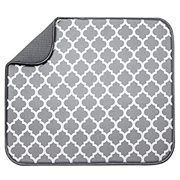 S&T INC Absorbent Reversible Microfiber Dish Drying Mat for Kitchen 16 Inch x 18 Inch White Trellis  497401