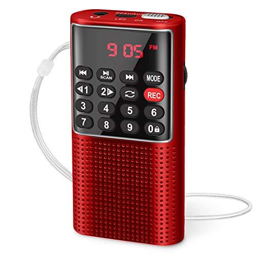 Mini Radio Portatile Tascabile PRUNUS J-328, Radio Walkman Digitale con Registratore, Lettore Musicale Mp3 Micro-SD/TF/AUX, Batteria Ricaricabile e Tasto di Blocco per Jogging, Camminate, Viaggio
