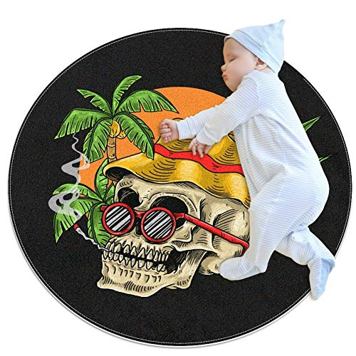 Nursery Rug Skull Chill Tropical Holiday Summer Baby Crawling Mat Non-Slip Play mat Soft Tent Mat for Children's Bedroom 80x80cm