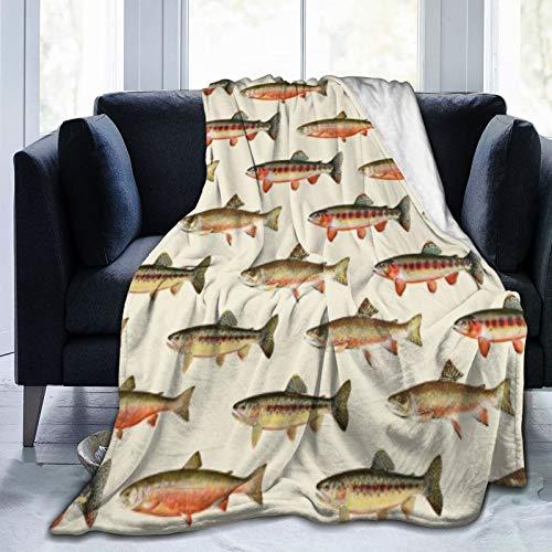 Bernice Winifred Trout Fishing Ultra-Soft Micro Fleece Blanket Fabricada en Franela Anti-Pilling, más cómoda y Abrigada.50x40