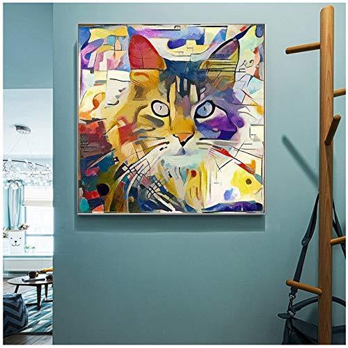 YANGMENGDAN Druck auf Leinwand Bunte Katze Tierbilder Kandinsky Abstrakte Leinwand Malerei Wandkunst Bild für Wohnzimmer Schlafzimmer 70,570 cm (27,5